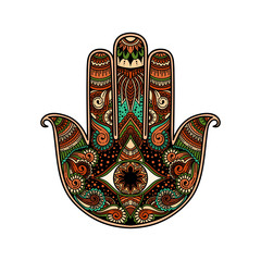 multicolor hand drawn illustration of a hamsa hand symbol. Hand of Fatima religious sign with all seeing eye. Vintage boho style. Vector illustration in doodle zen tangle style