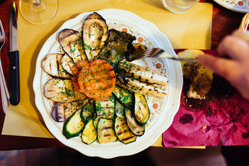 Plate full of vegetables in Tuscany, Italy