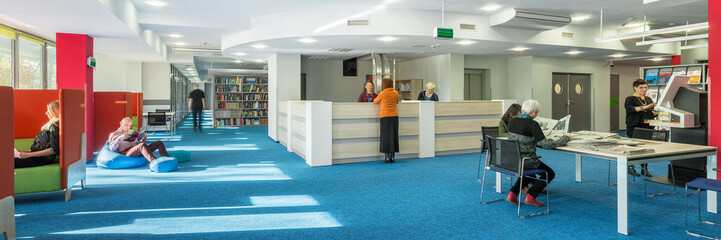 University library with blue floor