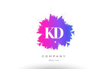 KD K D purple magenta splash alphabet letter logo icon design