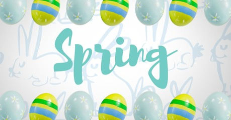 Spring text with Easter eggs in front of pattern