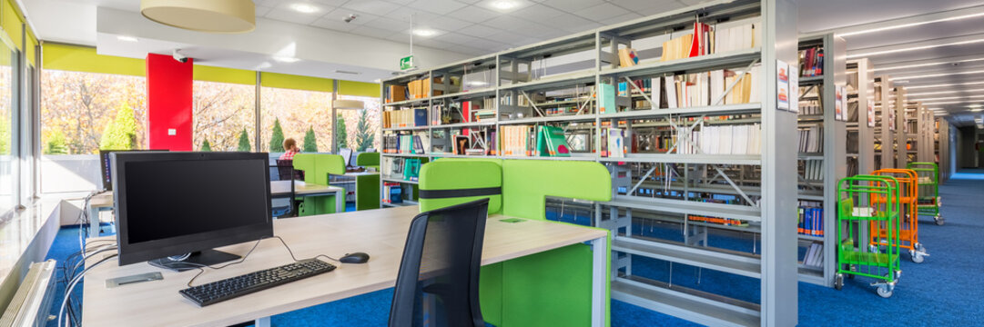Functional library interior with desk