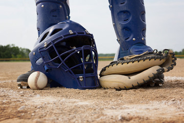 Blue and White Men's baseball catcher's gear