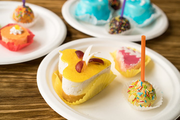 Delicious colourful cup cakes.