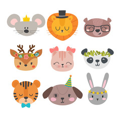 Cute animals with funny accessories. Cartoon zoo. Set of hand drawn smiling characters. Cat, lion, panda, dog, tiger, deer, bunny, mouse and bear
