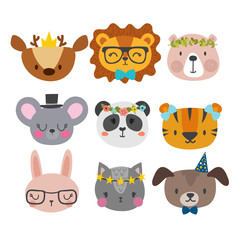 Cute animals with funny accessories. Cat, lion, panda, dog, tiger, deer, bunny, mouse and bear. Cartoon zoo. Set of hand drawn smiling characters