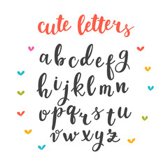 Cute letters. Hand drawn calligraphic font. Lettering alphabet