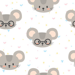 Cute seamless pattern for children with funny mouse. Smile characters
