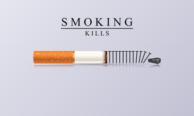 Smoking Kills. Creative illustration with burning cigarette