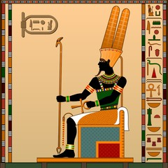 Religion of Ancient Egypt. Amun is the god of heaven, air. Ancient Egyptian god Amon in the guise of a man on the throne. Vector illustration.