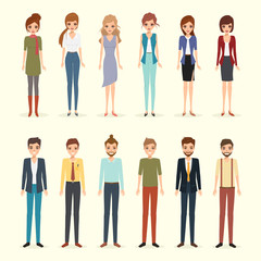 Set of woman and man character. avatar people realistic vector design. business man and business woman collection.