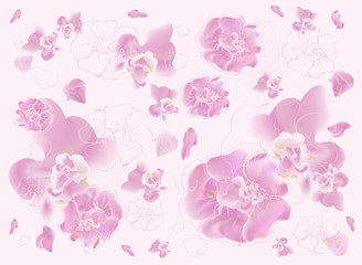 Spring abstract pastel colors background with cherry blossom and orchids