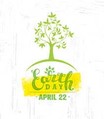 Earth Day Eco Green Vector Poster Design. Organic Tree Concept on Paper Background