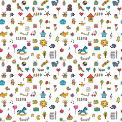 Seamless pattern for cute little girls and boys. Doodle children background. Sketch set of drawings in child style