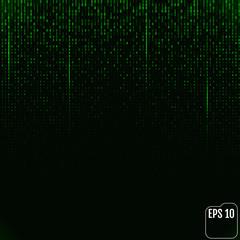 Binary code green neon glow matrix. Vector