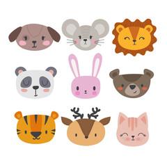 Set of cute hand drawn smiling animals. Cat, panda, tiger, dog, deer, lion, bunny, mouse and bear. Cartoon zoo