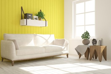 Yellow modern room with sofa. Scandinavian interior design. 3D illustration