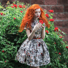 A woman with red curly hair in a floral dress on a background of a bush with red roses. Red-haired girl with pale skin, blue eyes, bright unusual appearance and red lips and thin waist in the garden.