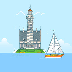 Lighthouse on rock stones island lineart vector background Sea sunset panorama