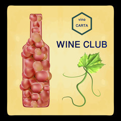 Fresh bunch of grapes. Manufacturer of fresh juices and wine. Logo.