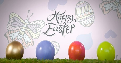Happy Easter text with Easter eggs in front of pattern