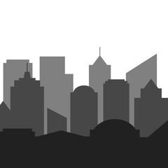 City skyline in grey colors. Buildings silhouette cityscape. Vector illustration