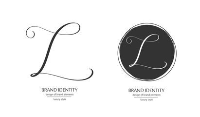 Luxury vector logo template. Sophisticated brand design. Calligraphic letter L as a monogram