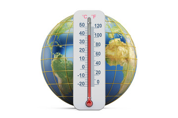 Global warming concept. Thermometer with Earth globe,  3D rendering