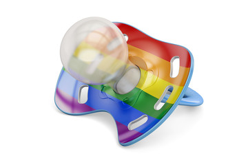 LGBT adoption concept, baby pacifier with rainbow gay flag. 3D rendering
