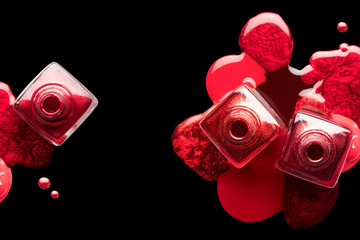 Nail art and manicure concept. Metallic red nail polish