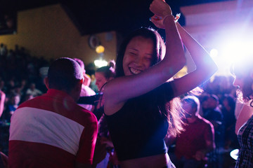 Twenty something dances at night club in Trinidad, Cuba