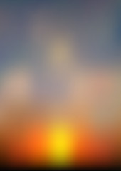 Abstract sundown or sunrise sky background. Gradient mesh texture.