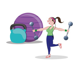 fitness woman ball barbell weight vector illustration eps 10