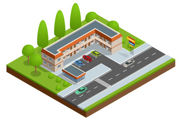 Motel or hotel building near the road with cars, parking lot and neon sign. Vector isometric icon or infographic element