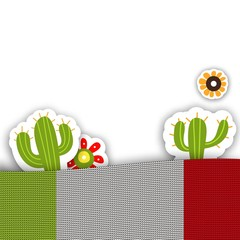 Mexican background for design posters or invitations. Vector illustration with knitted flag, cacti and flowers.