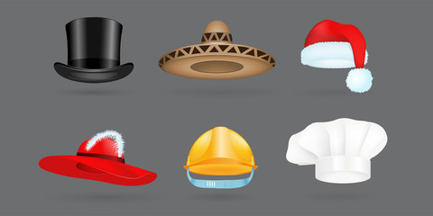 Different kind of fashion hat modern elegance cap and textile accessories clothes vector illustration