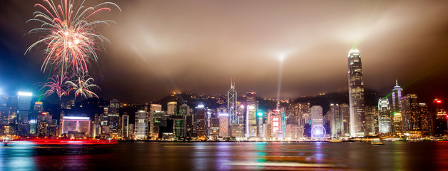 Light Show Over Hong Kong Skyline at Victoria Harbor