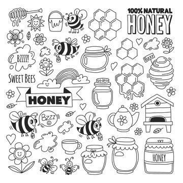 Honey market, bazaar, honey fair Doodle images of bees, flowers, jars, honeycomb, beehive, spot, the keg with lettering sweet honey, natural honey, sweet bees
