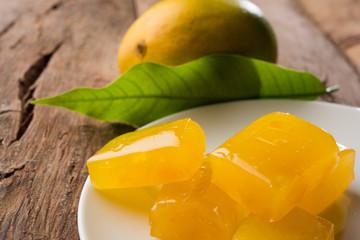 indian alphonso mango's dried jelly called mango papad or mango poli or slab or cake or mango halwa, traditional maharashtrian recipe