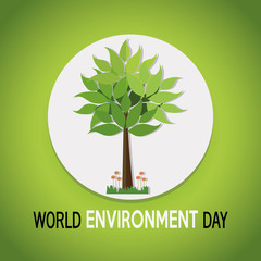 vector of a world environment day, tree over white circle over green  color backdrop