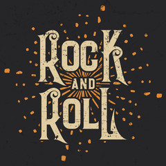 Rock and Roll T-shirt Graphic Design, Vector Illustration