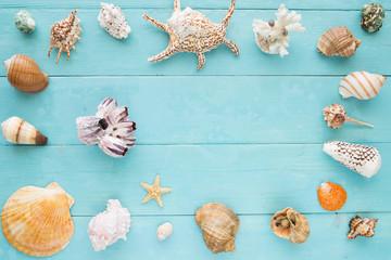 Many seashells on a blue wooden planks
