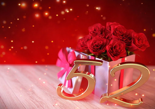 birthday concept with red roses in gift on wooden desk. fifty-second. 52nd. 3D render