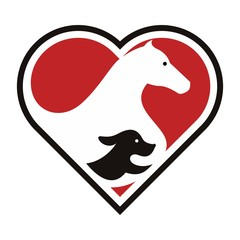 dog and horse logo vector.
