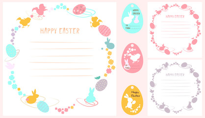 A set of easter ornaments. Vector picture with rabbits, flowers and colored Easter eggs. Predominant colors: pink, yellow, blue..