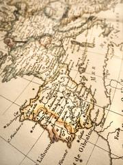 アンティークの世界地図 イベリア半島