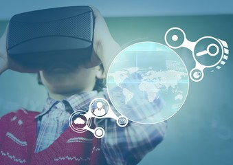Child wearing VR Virtual Reality Headset with Interface