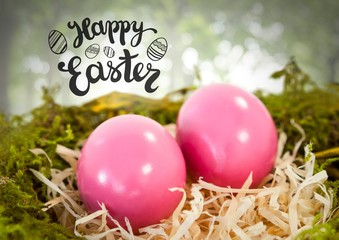 Happy Easter text with Easter eggs in nest in forest