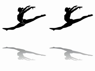 silhouette of a gymnast woman, vector draw