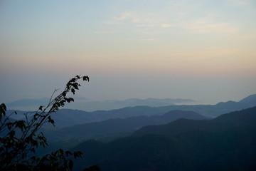 Blue Ridge Parkway Mountains Ridges Layers Sunset Appalachian Scenic Landscape in Western North Carolina